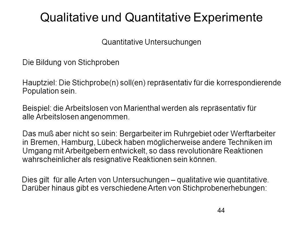 44 Qualitative und Quantitative Experimente Quantitative Untersuchungen Die Bildung von Stichproben Hauptziel: Die Stichprobe(n) soll(en) repräsentativ für die korrespondierende Population sein.
