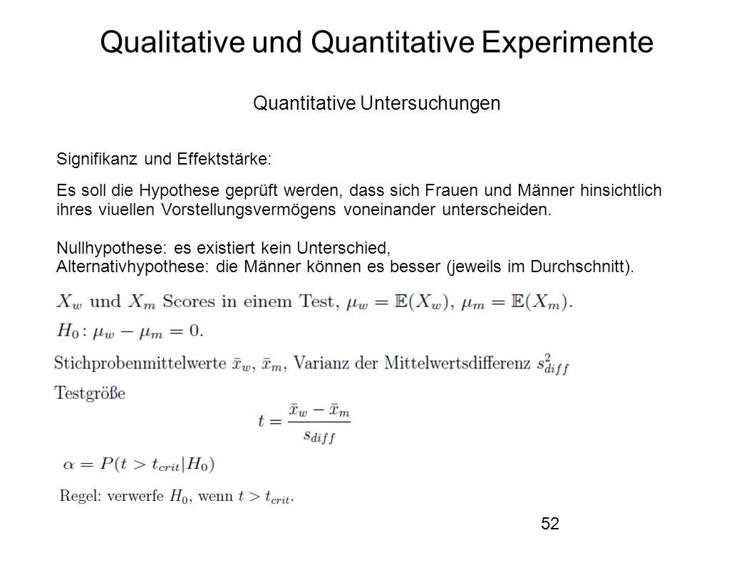 52 Qualitative und Quantitative Experimente Quantitative Untersuchungen Signifikanz und Effektstärke: Es soll die Hypothese geprüft werden, dass sich Frauen und Männer hinsichtlich ihres viuellen Vorstellungsvermögens voneinander unterscheiden.