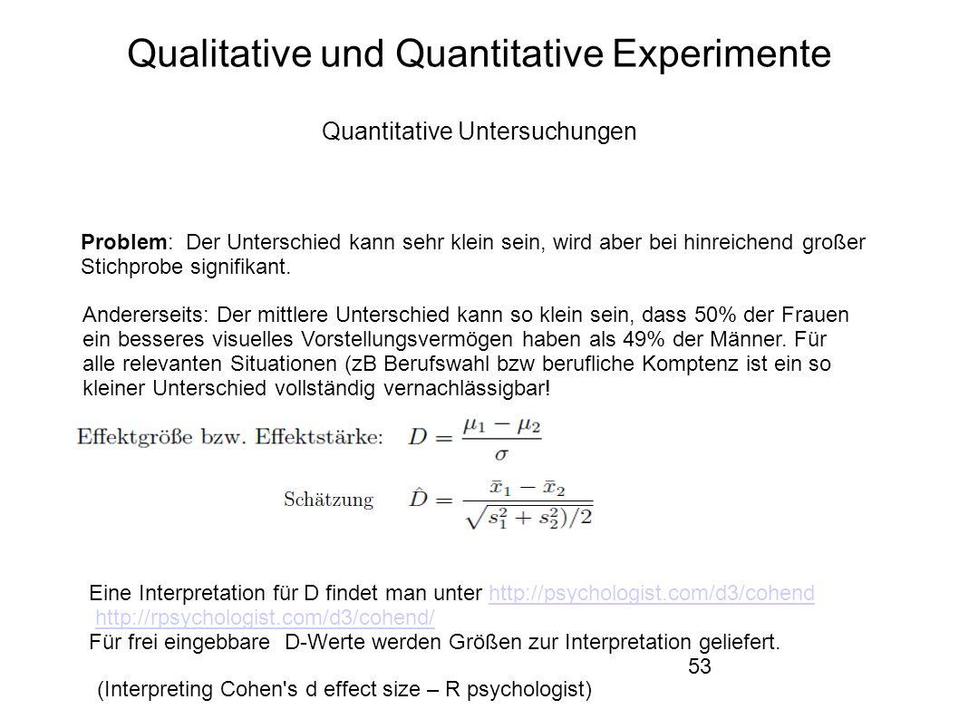 53 Qualitative und Quantitative Experimente Quantitative Untersuchungen Problem: Der Unterschied kann sehr klein sein, wird aber bei hinreichend großer Stichprobe signifikant.