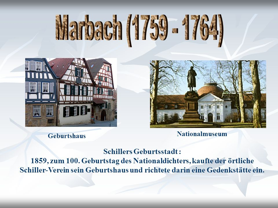 Schillers Geburtsstadt : 1859, zum 100.