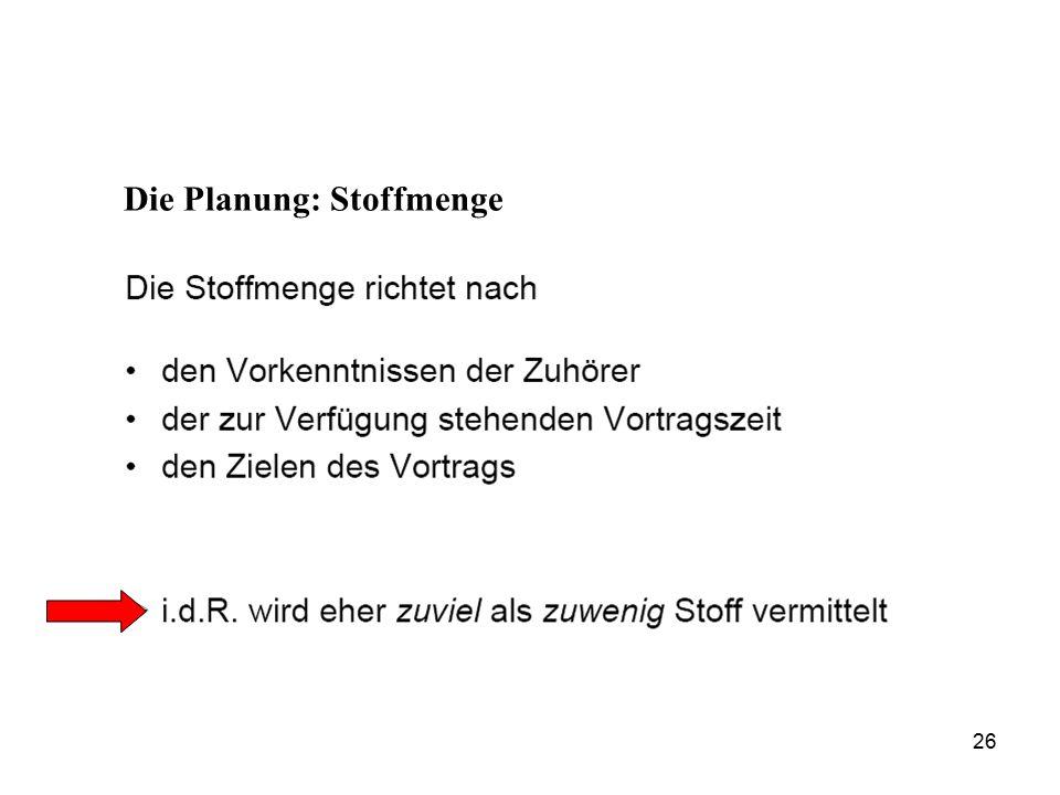 Die Planung: Stoffmenge 26