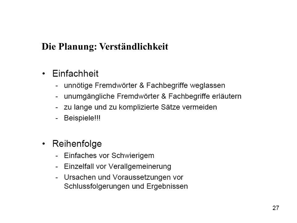 Die Planung: Verständlichkeit 27