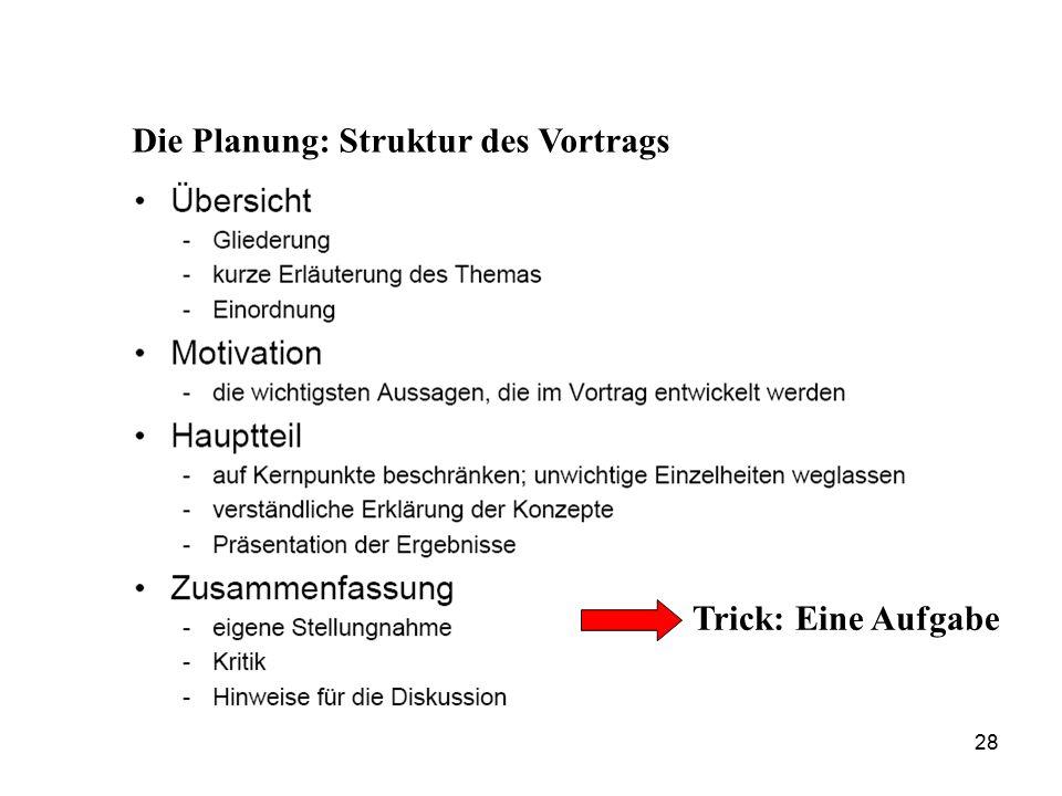 Die Planung: Struktur des Vortrags Trick: Eine Aufgabe 28
