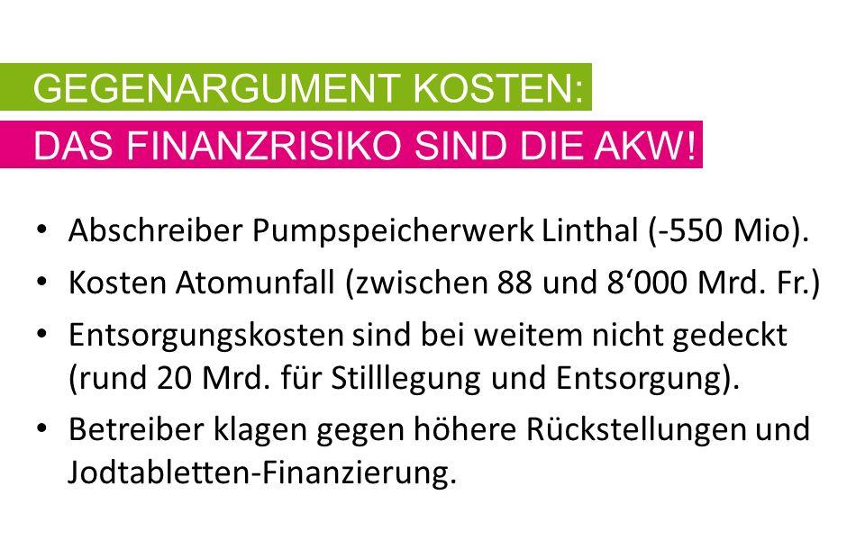Abschreiber Pumpspeicherwerk Linthal (-550 Mio). Kosten Atomunfall (zwischen 88 und 8'000 Mrd.