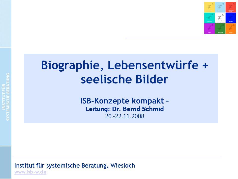 Institut für systemische Beratung, Wiesloch www.isb-w.de Biographie, Lebensentwürfe + seelische Bilder ISB-Konzepte kompakt – Leitung: Dr.