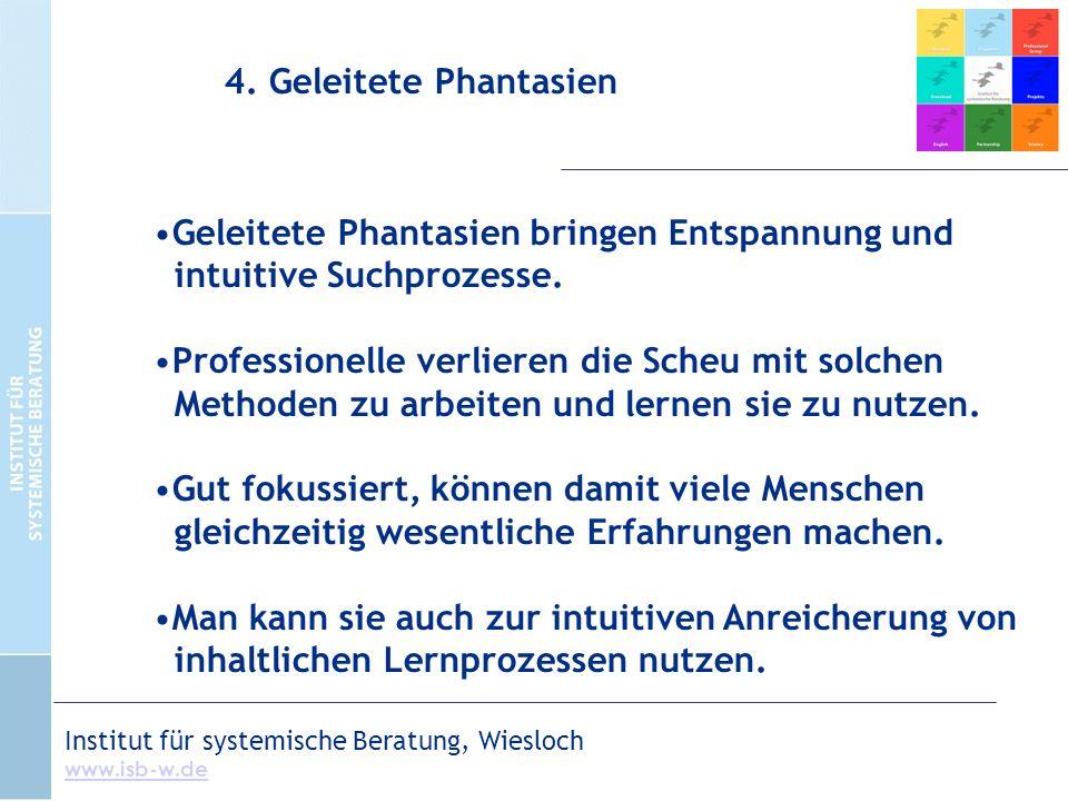 Institut für systemische Beratung, Wiesloch www.isb-w.de Geleitete Phantasien bringen Entspannung und intuitive Suchprozesse.