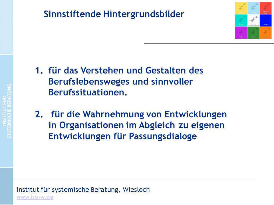 Institut für systemische Beratung, Wiesloch www.isb-w.de 1.für das Verstehen und Gestalten des Berufslebensweges und sinnvoller Berufssituationen.