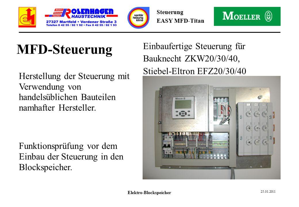Elektro-Blockspeicher 25.01.2011 Steuerung EASY MFD-Titan MFD-Steuerung Herstellung der Steuerung mit Verwendung von handelsüblichen Bauteilen namhafter Hersteller.
