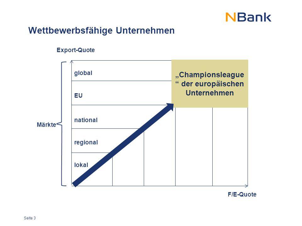 """Seite 3 Wettbewerbsfähige Unternehmen Export-Quote F/E-Quote """"Championsleague der europäischen Unternehmen global EU national regional lokal Märkte"""