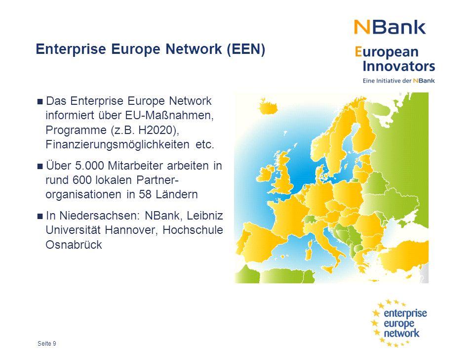 Seite 9 Enterprise Europe Network (EEN) Das Enterprise Europe Network informiert über EU-Maßnahmen, Programme (z.B.