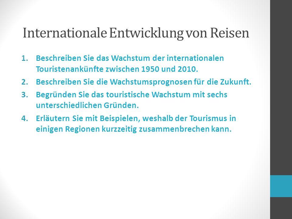 1.Beschreiben Sie das Wachstum der internationalen Touristenankünfte zwischen 1950 und 2010.