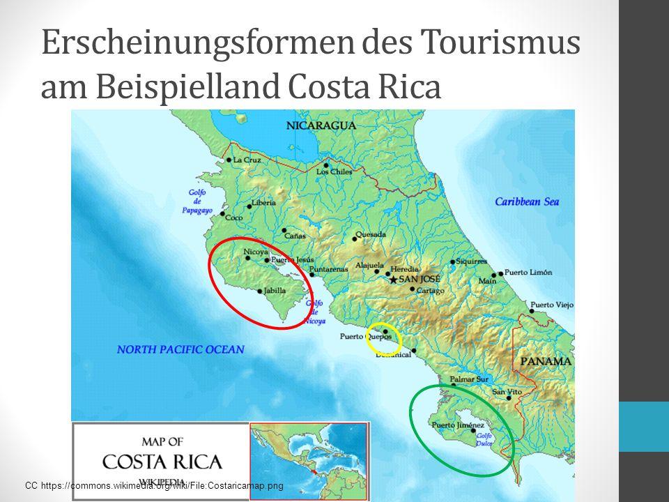 Erscheinungsformen des Tourismus am Beispielland Costa Rica CC https://commons.wikimedia.org/wiki/File:Costaricamap.png