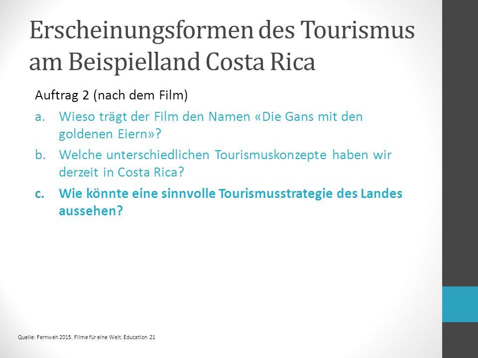 Erscheinungsformen des Tourismus am Beispielland Costa Rica Auftrag 2 (nach dem Film) a.Wieso trägt der Film den Namen «Die Gans mit den goldenen Eiern».