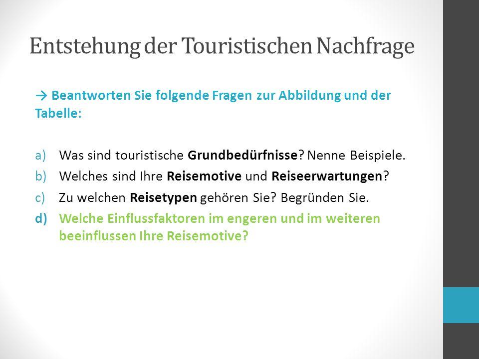 → Beantworten Sie folgende Fragen zur Abbildung und der Tabelle: a)Was sind touristische Grundbedürfnisse.