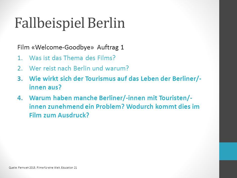 Fallbeispiel Berlin Film «Welcome-Goodbye» Auftrag 1 1.Was ist das Thema des Films.