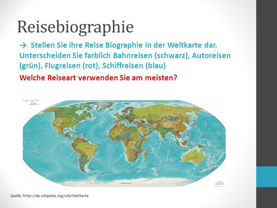 Reisebiographie → Stellen Sie ihre Reise Biographie in der Weltkarte dar.