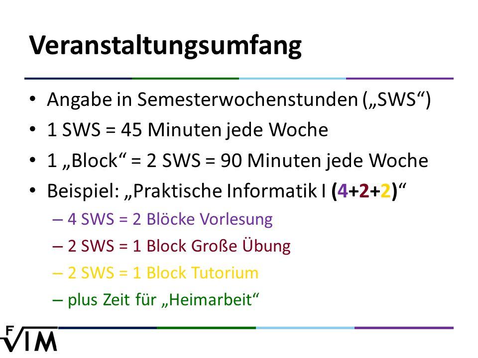 """Veranstaltungsumfang Angabe in Semesterwochenstunden (""""SWS ) 1 SWS = 45 Minuten jede Woche 1 """"Block = 2 SWS = 90 Minuten jede Woche Beispiel: """"Praktische Informatik I (4+2+2) – 4 SWS = 2 Blöcke Vorlesung – 2 SWS = 1 Block Große Übung – 2 SWS = 1 Block Tutorium – plus Zeit für """"Heimarbeit"""