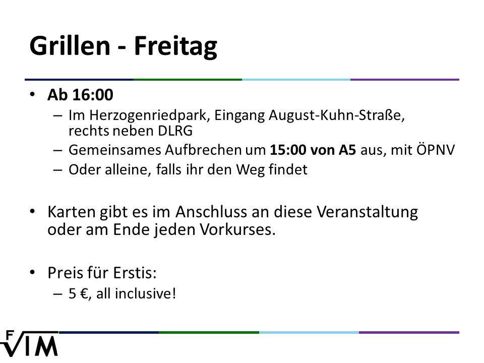 Ab 16:00 – Im Herzogenriedpark, Eingang August-Kuhn-Straße, rechts neben DLRG – Gemeinsames Aufbrechen um 15:00 von A5 aus, mit ÖPNV – Oder alleine, falls ihr den Weg findet Karten gibt es im Anschluss an diese Veranstaltung oder am Ende jeden Vorkurses.