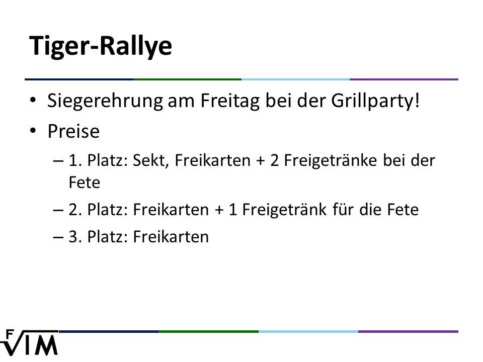 Tiger-Rallye Siegerehrung am Freitag bei der Grillparty.