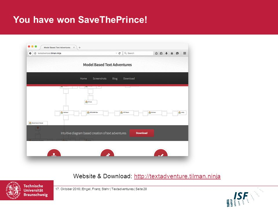 17. Oktober 2016 | Engel, Franz, Stehr | Textadventures | Seite 28 You have won SaveThePrince.