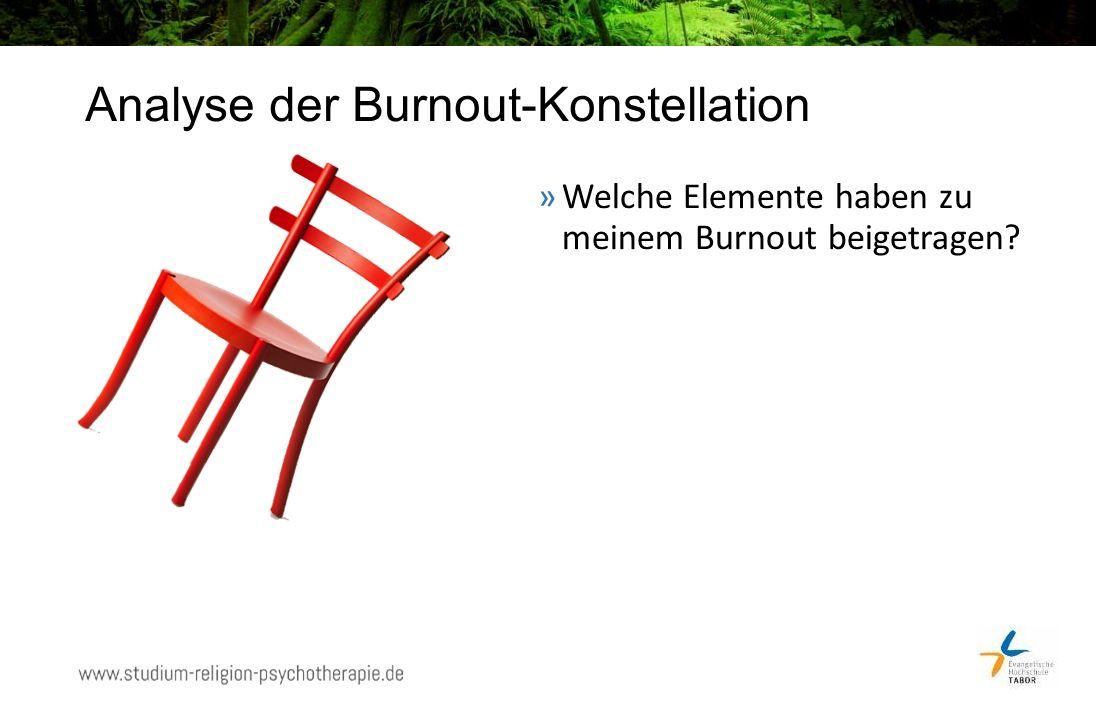 Analyse der Burnout-Konstellation »Welche Elemente haben zu meinem Burnout beigetragen