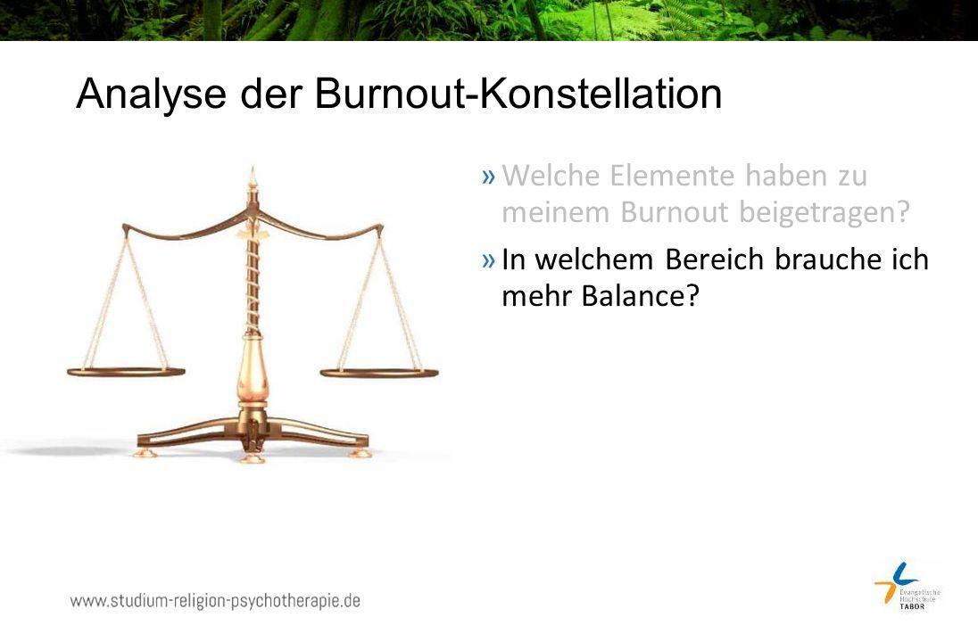 Analyse der Burnout-Konstellation »Welche Elemente haben zu meinem Burnout beigetragen.