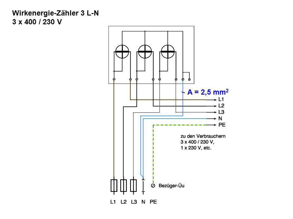 Wirkenergie-Zähler 3 L-N 3 x 400 / 230 V A = 2,5 mm 2