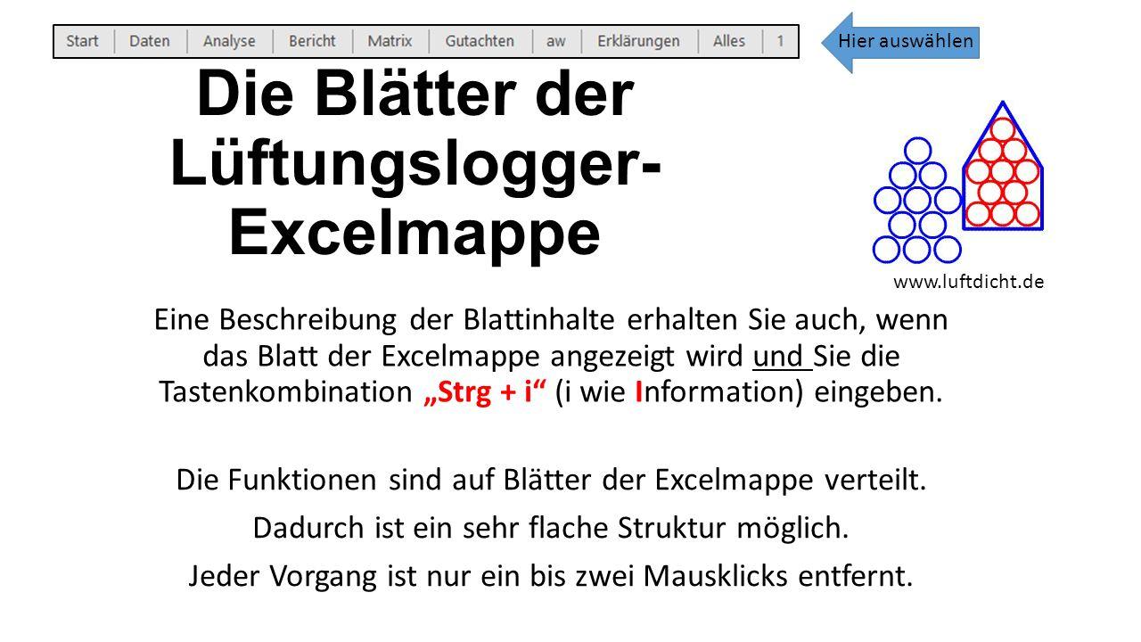 """Die Blätter der Lüftungslogger- Excelmappe Eine Beschreibung der Blattinhalte erhalten Sie auch, wenn das Blatt der Excelmappe angezeigt wird und Sie die Tastenkombination """"Strg + i (i wie Information) eingeben."""