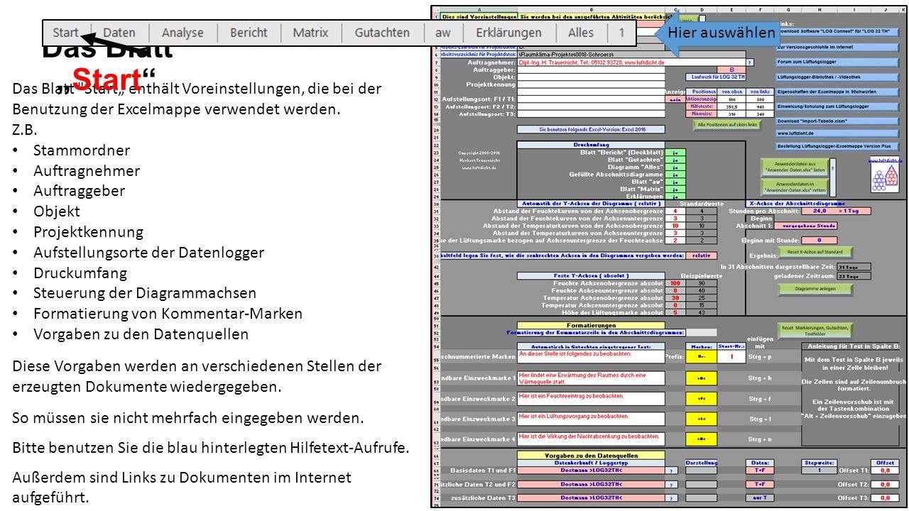 """Das Blatt Start"""" enthält Voreinstellungen, die bei der Benutzung der Excelmappe verwendet werden."""