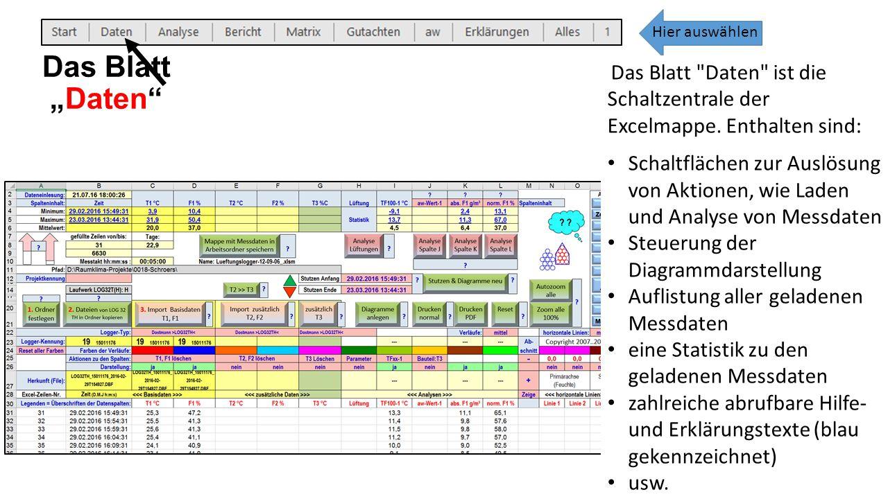 Das Blatt Daten ist die Schaltzentrale der Excelmappe.