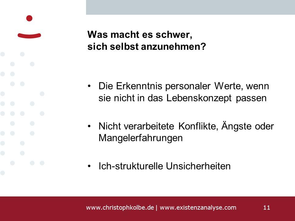 www.christophkolbe.de   www.existenzanalyse.com11 Was macht es schwer, sich selbst anzunehmen.