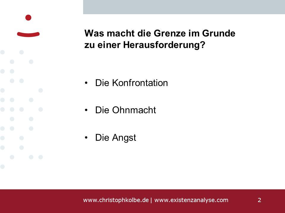 www.christophkolbe.de   www.existenzanalyse.com2 Was macht die Grenze im Grunde zu einer Herausforderung.