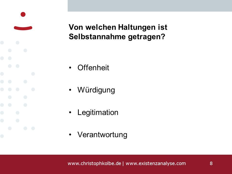 www.christophkolbe.de   www.existenzanalyse.com8 Von welchen Haltungen ist Selbstannahme getragen.