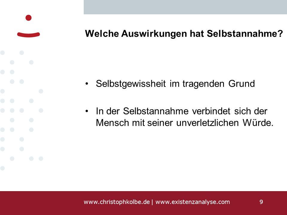 www.christophkolbe.de   www.existenzanalyse.com9 Welche Auswirkungen hat Selbstannahme.