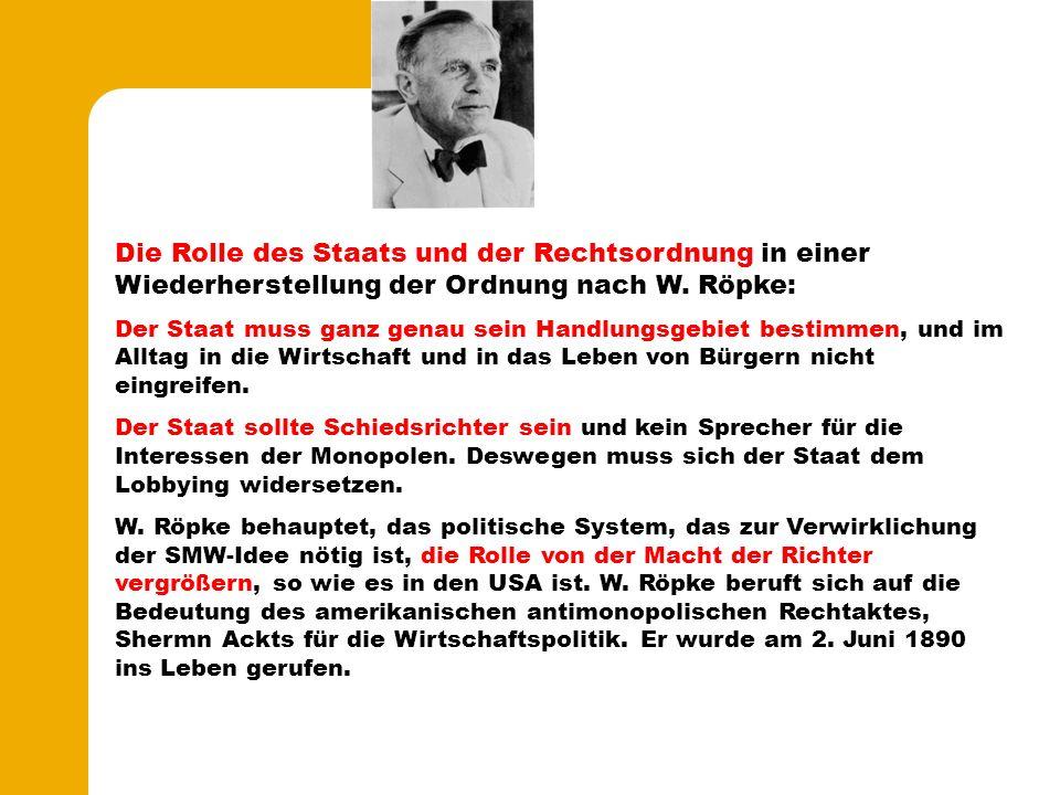 Die Rolle des Staats und der Rechtsordnung in einer Wiederherstellung der Ordnung nach W.