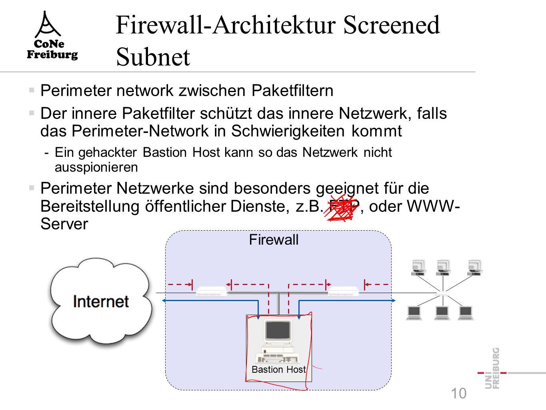 10 Firewall-Architektur Screened Subnet  Perimeter network zwischen Paketfiltern  Der innere Paketfilter schützt das innere Netzwerk, falls das Perimeter-Network in Schwierigkeiten kommt -Ein gehackter Bastion Host kann so das Netzwerk nicht ausspionieren  Perimeter Netzwerke sind besonders geeignet für die Bereitstellung öffentlicher Dienste, z.B.