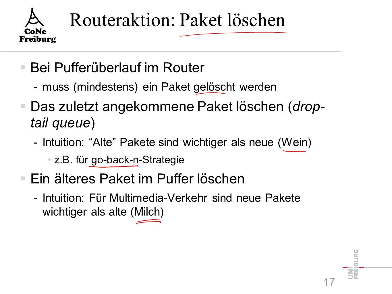 Routeraktion: Paket löschen  Bei Pufferüberlauf im Router -muss (mindestens) ein Paket gelöscht werden  Das zuletzt angekommene Paket löschen (drop- tail queue) -Intuition: Alte Pakete sind wichtiger als neue (Wein) z.B.