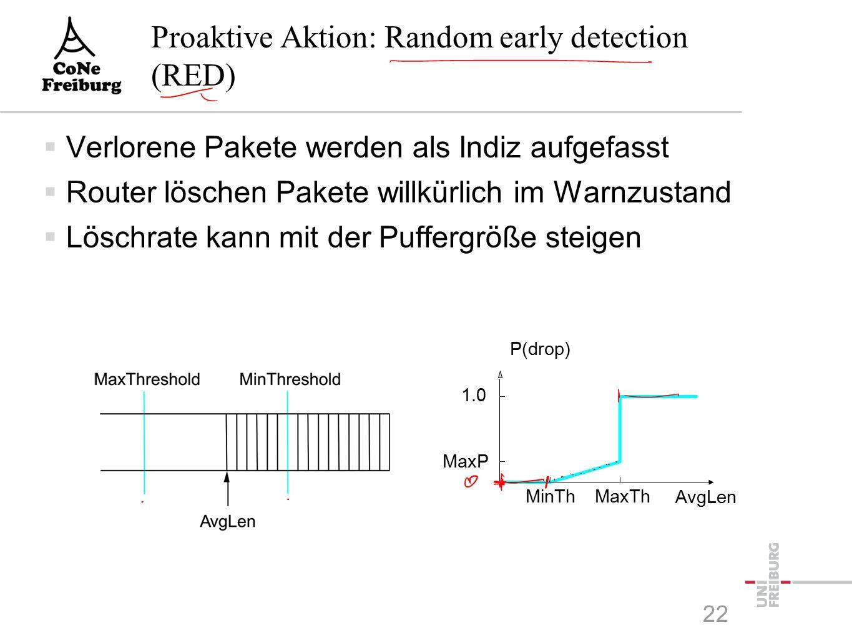 Proaktive Aktion: Random early detection (RED)  Verlorene Pakete werden als Indiz aufgefasst  Router löschen Pakete willkürlich im Warnzustand  Löschrate kann mit der Puffergröße steigen P(drop) 1.0 MaxP MinThMaxTh AvgLen 22