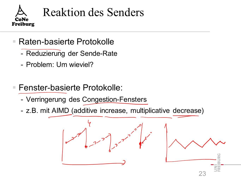 Reaktion des Senders  Raten-basierte Protokolle -Reduzierung der Sende-Rate -Problem: Um wieviel.