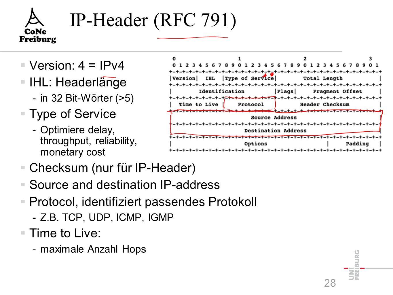 IP-Header (RFC 791)  Version: 4 = IPv4  IHL: Headerlänge -in 32 Bit-Wörter (>5)  Type of Service -Optimiere delay, throughput, reliability, monetary cost  Checksum (nur für IP-Header)  Source and destination IP-address  Protocol, identifiziert passendes Protokoll -Z.B.