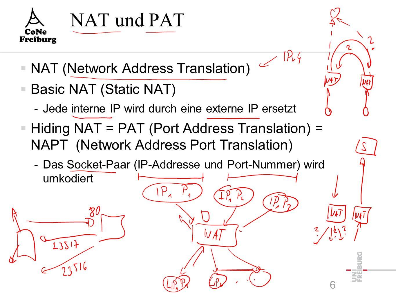 6 NAT und PAT  NAT (Network Address Translation)  Basic NAT (Static NAT) -Jede interne IP wird durch eine externe IP ersetzt  Hiding NAT = PAT (Port Address Translation) = NAPT (Network Address Port Translation) -Das Socket-Paar (IP-Addresse und Port-Nummer) wird umkodiert