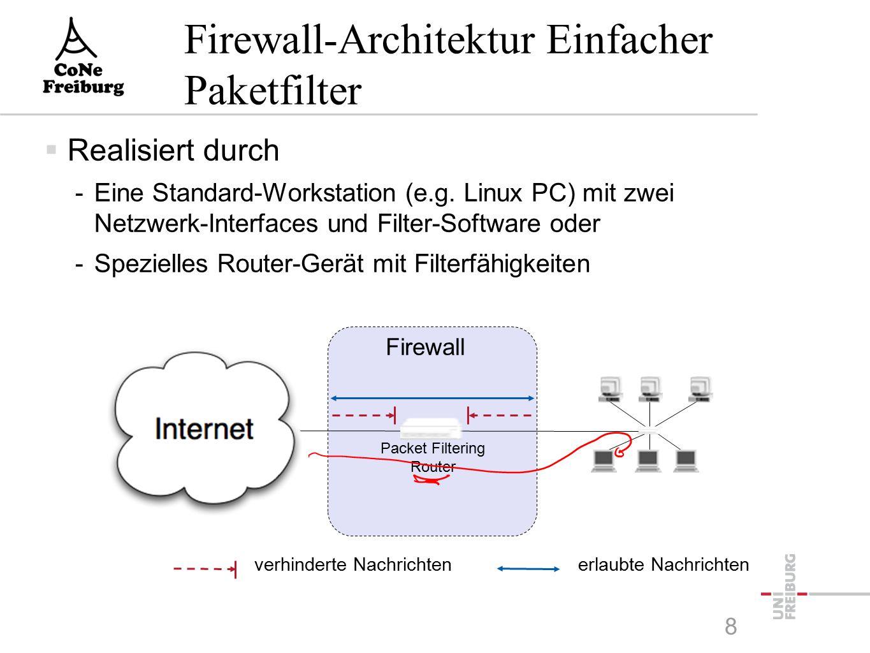 8 Firewall-Architektur Einfacher Paketfilter  Realisiert durch -Eine Standard-Workstation (e.g.