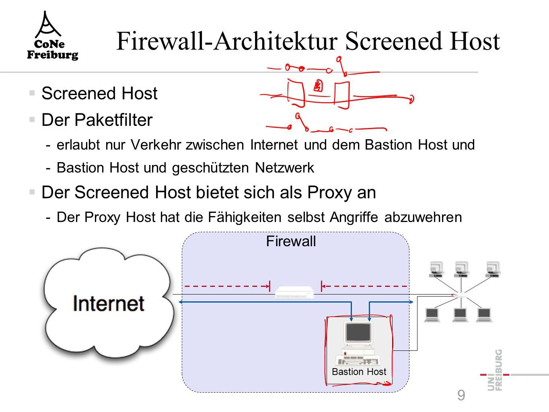 9 Firewall-Architektur Screened Host  Screened Host  Der Paketfilter -erlaubt nur Verkehr zwischen Internet und dem Bastion Host und -Bastion Host und geschützten Netzwerk  Der Screened Host bietet sich als Proxy an -Der Proxy Host hat die Fähigkeiten selbst Angriffe abzuwehren Firewall Bastion Host
