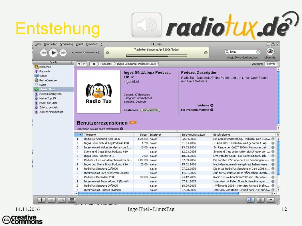 14.11.2016Ingo Ebel - LinuxTag12 Entstehung