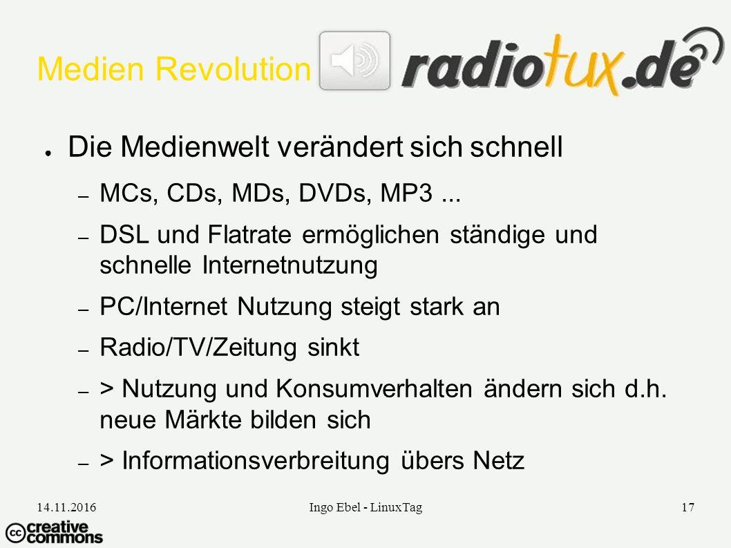 14.11.2016Ingo Ebel - LinuxTag17 Medien Revolution ● Die Medienwelt verändert sich schnell – MCs, CDs, MDs, DVDs, MP3...