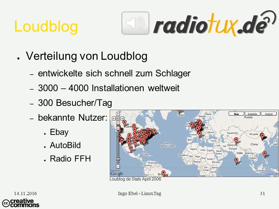 14.11.2016Ingo Ebel - LinuxTag31 Loudblog ● Verteilung von Loudblog – entwickelte sich schnell zum Schlager – 3000 – 4000 Installationen weltweit – 300 Besucher/Tag – bekannte Nutzer: ● Ebay ● AutoBild ● Radio FFH Loublog.de Stats April 2006