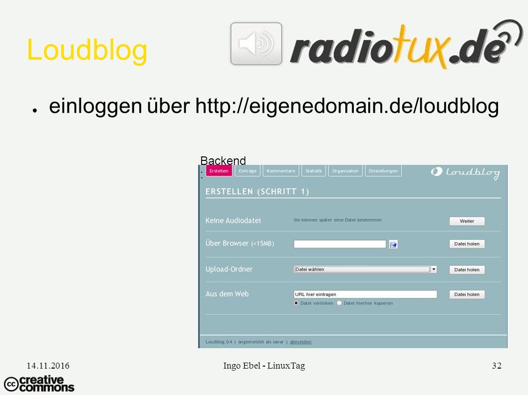 14.11.2016Ingo Ebel - LinuxTag32 Loudblog ● einloggen über http://eigenedomain.de/loudblog Backend :