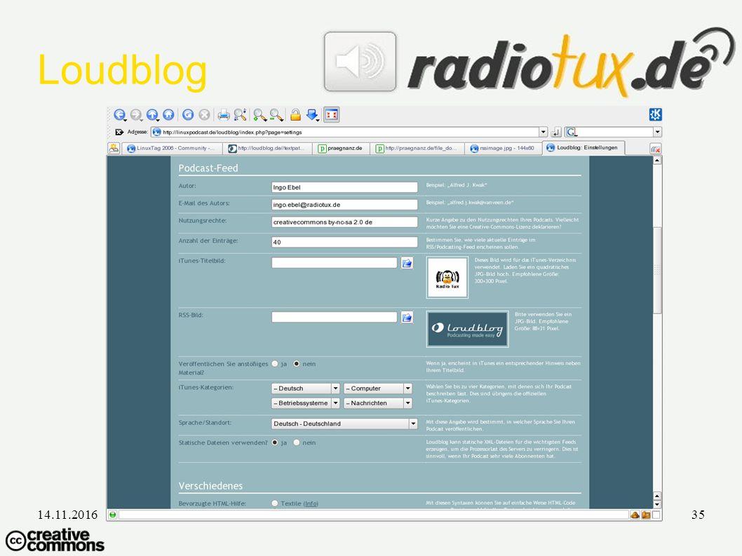 14.11.2016Ingo Ebel - LinuxTag35 Loudblog