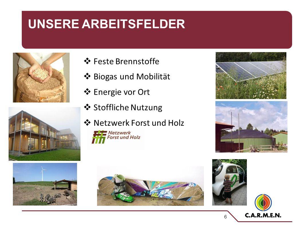 6 UNSERE ARBEITSFELDER  Feste Brennstoffe  Biogas und Mobilität  Energie vor Ort  Stoffliche Nutzung  Netzwerk Forst und Holz