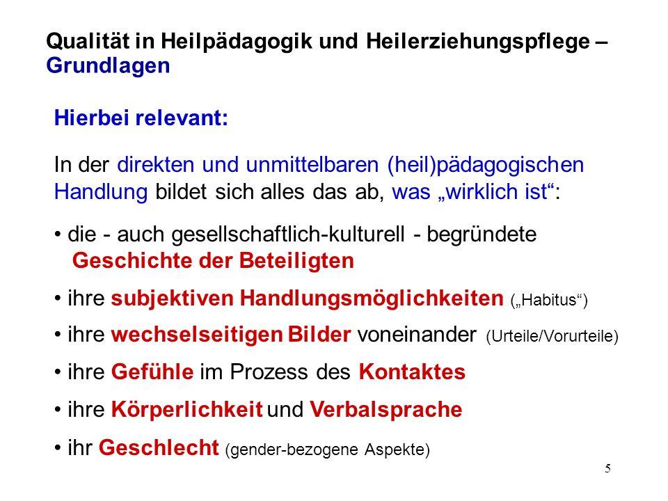 4 Qualität in Heilpädagogik und Heilerziehungspflege – Grundlagen Bausteine solcher Standards: 1.